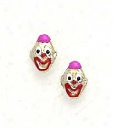 14k Yellow Pink Enamel hCildrens Clown Screw-back Earrings