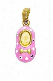 14k Yellow Pink Enamel Shoe Pendant