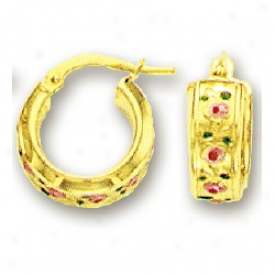 14k Yellow Pink Flower Childrens Enamel Earrings