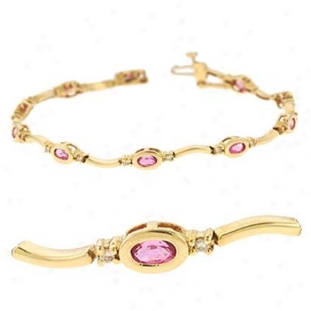 14k Yellow Pink Sapphire And Diamond Bracelet