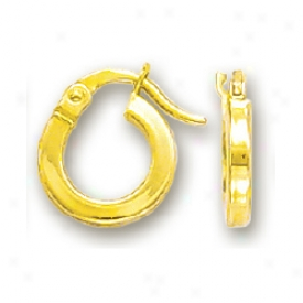14k Yellow Plain Hoop Chikdrens Earrings