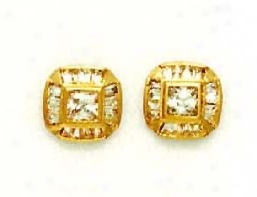 14k Yellow Princess And Baguette Cz Fancy Earrings