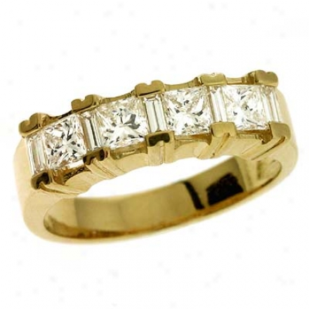 14k Yellow Princess Cut 1.05 Ct Diamond Band Ring
