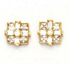 14k Yellow Princess Round And Baguette Cz Fancy Earrings