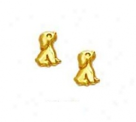 14k Yellow Puppy Friction-back Messenger Earrings