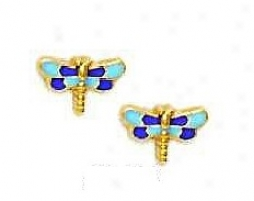 1k4 Yellow Purple Pedantic  Enamel Childrens Screw-back Earrings