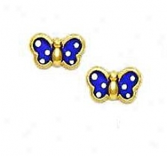 14k Yellow Purple Enamel Chillrens Butterfly Earrings