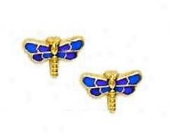 14k Golden Purple Enamel Childrens Dragonfly Earrings