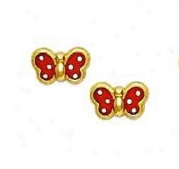 14k Yellow Red Enamel Childrens Butterfly Earrings
