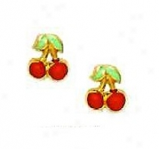 14k Yellow Red Enamel Childrens Cherry Screw-back Earrings