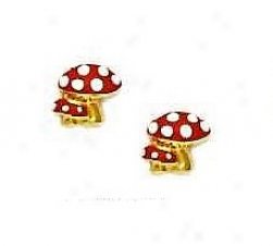 14k Yellow Red Enamel Childrens Mushroom Screw-back Earrings