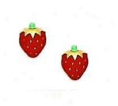 14k Yellow Red Enamel Childrens Strawberry Earrings