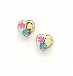14k Yellow Red Yellow And Blue Enamel Childrens Earrings