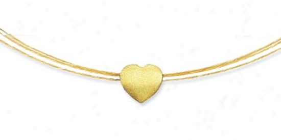 14k Yellow Reversible Heart Triple Wire Necklace - 17 Inch