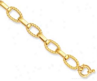 14k Yellow Ridged Link Spring Ring Closure Bracelet - 7.5 In