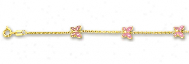 14k Yellow Rolo And Butterfly Rank Enamel Anklet - 10 Inc