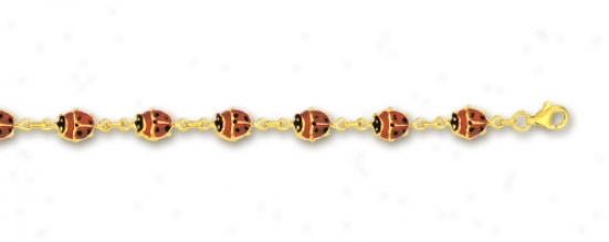 14k Yellow Rolo And Lady Bug Place Enamel Anklet - 10 Inch