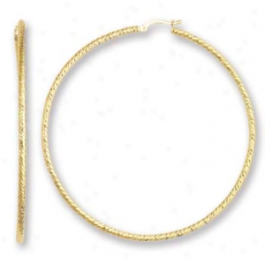 14k Yellow Rope Design Round Hoop Earrings