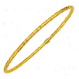 14k Yellow Rope Design Stackable Slip-on Bangle - 8 Inch