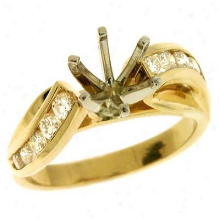 14k Yelpow Round 0.54 Ct Diamond Semi-mount Engagement Ring
