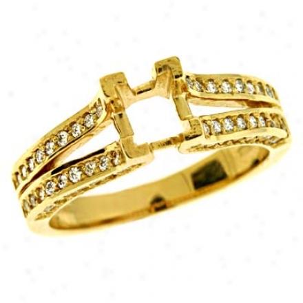 14k Yel1ow Round 0.65 Ct Diamond Semi-mount Engagement Ring