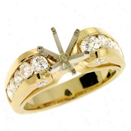 14k Yellow Round 1.28 Ct Diamond Semi-mount Plighting Ring
