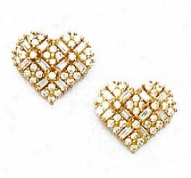 14k Yellow Round And Baguette Cz Heart Earrings