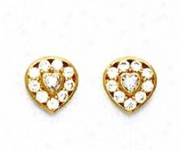 14k Yellow Round And Heart Cz Heart Shaoe Earrings