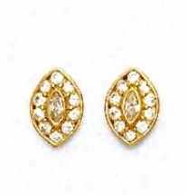 14k Yellow Round And Marquise Cz Marquise Shape Earrings