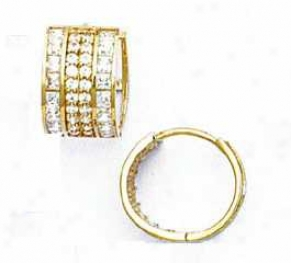 14k Yellow Round And Square Cz Hinged Earrings