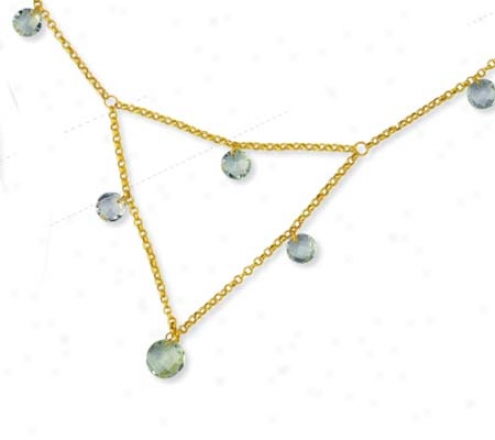 14k Golden Round Ball Drop Green Amethyst Necklace - 17 Inch