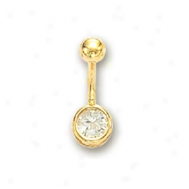 14k Yellow Round Cubic Zirconia Belly Ring