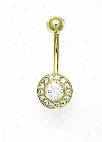 14k Yellow Round Cz Circle Belly Ring