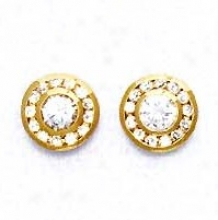 14k Yellow Round Cz Circle Intention Post Earrings