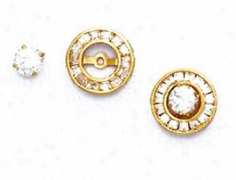 14k Yellow Round Cz Circle Friction-bad Post Earrings