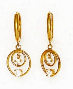 14k Yellow Round Cz Circles Design Hinged Earrings