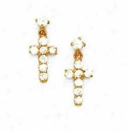 14k Yellow Round Cz Cross Friction-back Post Earrings