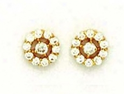 14k Yellow Round Cz Flowwer Design Post Earrings