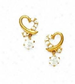 14k Yellow Round Cz Heart Shape Friction-back Post Earrings