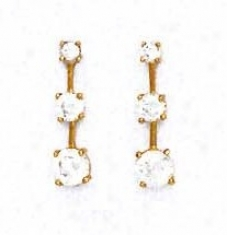 14k Yellow Round Cz Three-stone Friction-back Post Earrings
