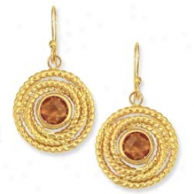 14k Yellow Round Rope Framed Leverback Citrine Earrings