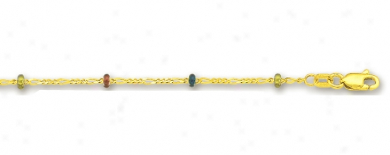 14k Yellow Saturn And Figaro Link Enamel Anklet - 10 Inch