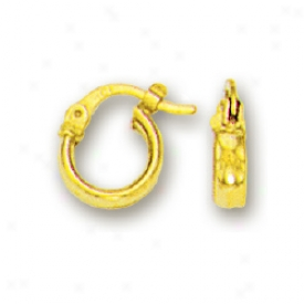 14k Yellow Simple Hoop Childrens Earrings