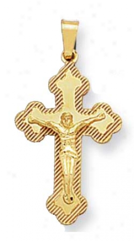 14k Yellow Small Crucifix Cross Pendant