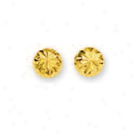 14k Yellow Small Diamond-cut Half Ball Stud Earrings