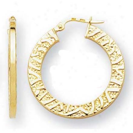 14k Yellow Small Flat Hoop Earrings
