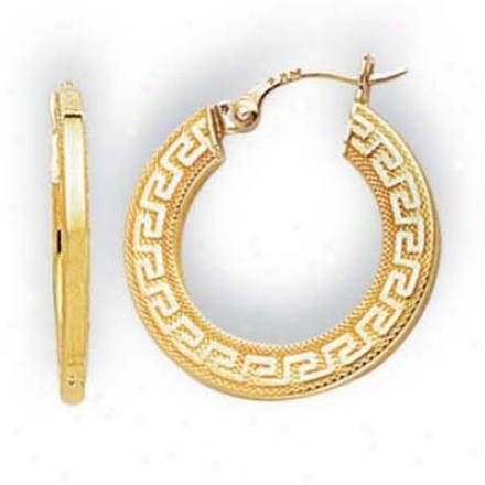 14k Yellow Small Greek Key Hoop Earringgs
