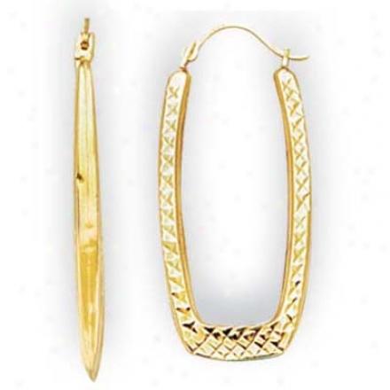 14k Yellow Small Rectangular Diamond-ccut Hoop Earrings
