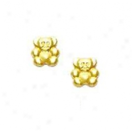 14k Yellow Small Teddy Bear Friction-back Office Earrinys