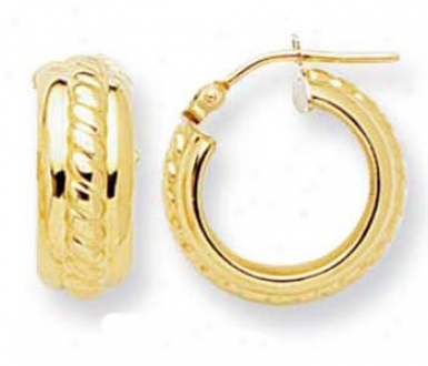 14k Yellow Small Woven Design Hoop Earrings